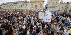 Manifestation contre le pass sanitaire à Montpellier, le samedi 7 août 2021.