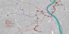 En rouge foncé, le tracé de 19 km et 18 stations de la ligne de métro à deux milliards d'euros proposé par Métro de Bordeaux à l'horizon 2035.