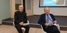 Jacques Archimbaud, président de la commission particulière du débat public dédiée à Horizeo (à droite) et François Gillard, membre de la commission (à gauche).