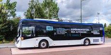 Le bus autonome RATP en test.