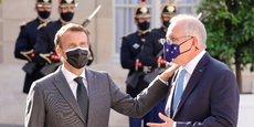 Emmanuel Macron en compagnie de Scott Morrisson le Premier ministre australien