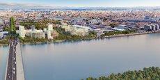 Le futur quartier Quai Neuf s'élèvera d'ici fin 2025 entre le pont Simone Veil et le jardin de l'Ars, à Bordeaux Euratlantique.