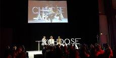 Sandy Alibo, fondatrice de Surf Ghana au Ghana, et Vanessa Atim, fondatrice de Prointerns en Ouganda, sont venues témoigner de leur action entrepreneuriale en faveur de l'insertion des jeunes lors du Sommet Afrique-France à Montpellier, le 8 octobre 2021.