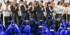 Guillaume Pepy, alors patron de la SNCF, Alain Rousset, président de Nouvelle-Aquitaine, Jean-Luc Gleyze, président de la Gironde, Alain Juppé, président de Bordeaux Métropole et Nicolas Hulot, ministre de l'Ecologie lors de l'inauguration en 2017 de la LGV Bordeaux-Tours.
