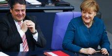 Sigmar Gabriel et Angela Merkel, les deux têtes de la grande coalition