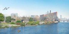 Une maquette du projet de quartier alternatif « Holzmarkt » - « marché du bois » -, au bord de la Spree, la rivière qui baigne la capitale allemande./ DR