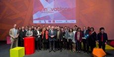 Martin Malvy, président du conseil régional, au milieu des lauréats du concours Inn'Ovations 2014 © photo DR