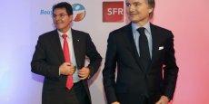 Olivier Roussat, le PDG de Bouygues Telecom, et Jean-Yves Charlier, celui de SFR, présentant leur accord de partage de réseaux début février.