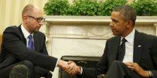 Barack Obama et Arseni Iatseniouk, le nouveau premier ministre ukrainien, mercredi, à la Maison Blanche (Washington).