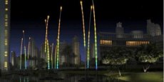 Projection de l'installation lumineuse 'Les roseaux immenses de Klar' d'Huges Reeds programmée lors du festival.