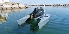 Le catamaran de surveillance de Subsea Tech, financé à 60 % par la DGA, est piloté à distance par un opérateur à terre. / DR