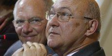Michel Sapin, et son homologue alleand Wolgang Schäuble lors d'une conférence de presse commune