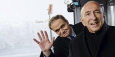Gérard Collomb et François-Noël Buffet, lors de l'inauguration de métro à Oullins. © Stéphane Audras/Rea