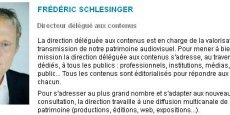 Frédéric Schlesinger était jusqu'ici directeur délégué aux contenus de l'Institut national de l'audiovisuel (Ina), dont Mathieu Gallet était PDG avant de prendre les rênes de Radio France. (Capture d'écran)