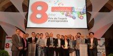 Les 10 lauréats de la 8ème édition du Prix de l'esprit d'entreprendre, le 3 juin à la CCI de Lyon. Crédits : Laurent Cérino