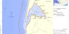 Carte du périmètre du Parc naturel marin du Bassin d'Arcachon. Crédit : Agence des aires marines protégées