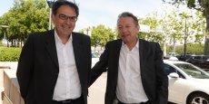 David Kimelfeld, vice-président du Grand Lyon en charge du développement économique, avec Xavier Kergall, fondateur du Salon des entrepreneurs © Laurent Cerino/Acteurs de l'économie