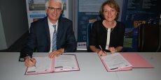 Jean-Pierre Giannini, président de la Route des lasers et Agnès Paillard, présidente d'Aerospace Valley