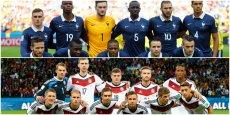 Vendredi à 18h, la France et l'Allemagne s'affronteront pour la quatrième fois en Coupe du monde. Pour l'instant, avantage 2-1 pour les Allemands (Crédit : Reuters, montage La Tribune)