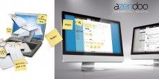 L'interface d'Azendoo, une plate-forme virtuelle de partage d'informations et de documents entre salariés travaillant sur le même projet.