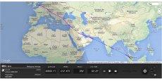 Le vol MH4 du dimanche 20 juillet a bien survolé la Syrie (trajectoire mauve). La trajectoire en pointillés indique le trajet le plus court en tenant compte de la courbure de la Terre. (capture d'écran: FlightRadar24.com)