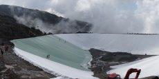 Le chantier de la retenue de l'Herpie au pied du glacier de Sarenne