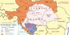 L'Autriche-Hongrie en 1918 (en couleurs, l'Empire en 1914 ; les traits rouges représentent les frontières de 1920).