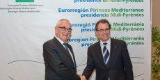 Martin Malvy, président du Conseil régional de Midi-Pyrénées et actuel président de l'Eurorégion Pyrénées-Méditerranée, aux côtés d'Artur Mas, président de la Generalitat de Catalogne
