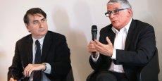 Philippe Robardey (à gauche), président du Medef 31, et Pierre Cohen (à droite)