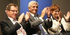 L'eurodéputé Robert Rochefort, le président du conseil national de l'UDI Hervé Morin et la n°2 sur la liste UDI-Modem Muriel Boulmier