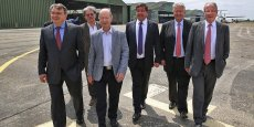 Youssef Sabeh (vice-président SNC Lavalin Opération & Maintenance), Bernard Bourjade (ajoint au maire de Portet-sur-Garonne), Bernard Keller (vice-président de Toulouse Métropole), Bertrand Bilger (président de la Sefta), Patrice Cohade (vice-président de la CCIT) et Jean-Michel Vernhes (président du directoire d'Aéroport Toulouse-Blagnac)  ©photo Rémi Benoit