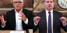 Pierre Cohen et Jean-Luc Moudenc, lors de leurs conférences de presse respectives, aujourd'hui à Toulouse