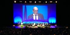 Jean-Yves Le Drian lors du discours de clôture de l'Université d'été de la Défense à Bordeaux