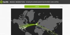 Londres, championne de la mondialisation musicale ... mais pas aux destinations les plus exotiques (Photo : Capture d'écran Spotify Insight Date Blog)