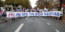 Outre les slogans anti-GPA et anti-PMA, les manifestants ont aussi dénoncé des coups de rabot annoncés sur les allocations familiales.
