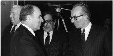 Yvon Gattaz, président du CNPF avec François Mitterrand.