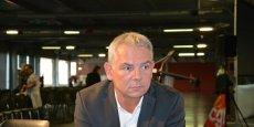 Thierry Lepaon, secrétaire général de la CGT avant son meeting au H14 à Bordeaux