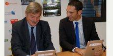 Pierre Chauvois, DG de la Banque populaire du Sud et Fabrice Lorente, président de la fondation UPVD, ont signé une convention de mécénat ouvrant une chaire sur l'usage du numérique dans le secteur bancaire.