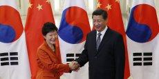 La présidente sud-coréenne Park Geun-Hye et le président chinois Xi Jinping, en marge du Forum de coopération économique Asie-Pacifique (Apec).