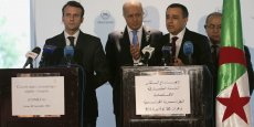 Emmanuel Macron, Laurent Fabius et Abdeslam Bouchouareb, ministre algérien de l'industrie