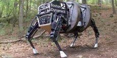 Boston Dynamics, célèbre pour ses spectaculaires « animaux » quadrupèdes comme l'Alpha Dog, un quadrupède de la taille d'une mule capable d'évoluer sans tomber, sur n'importe quel terrain.