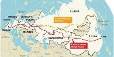Le train va d'abord traverser toute la Chine de l'est à l'ouest, puis le Kazakhstan et la partie occidentale de la Russie, avant d'atteindre l'Ukraine, puis la Pologne, l'Allemagne, la France et enfin l'Espagne.