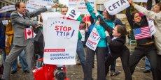 Manifestation à Berlin contre les traités CETA et TTIP.
