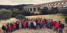 L'équipe de l'EPCC Pont du Gard, pour les trente ans anniversaires de l'inscription du site au patrimoine mondial de l'Unesco.