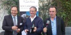 De gauche à droite Jérôme Villaret, Jean-Benoît Cavalier et Jean-Philippe Granier fêtent les trente ans de l'AOC Languedoc