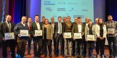 Les entreprises partenaires de Vinoboss et les huit lauréats de l'édition 2014, lors de la remise des trophées VinoBoss à Montpellier SupAgro.