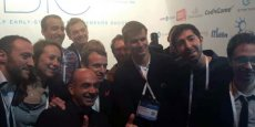 Emmanuel Macron, au milieu des start-upers montpelliérains.