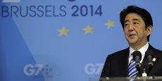 Le Premier ministre japonais Shinzo Abe lors d'une conférence de presse donnée dans les locaux du Conseil de l'Europe à Bruxelles après la tenue du sommet du G7 de juin dernier. Rien en réalité ne permet de discréditer l'idée d'une relance européenne en brandissant le cas nippon.