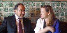 Axelle Lemaire en compagnie de Tawfik Jelassi, ministre tunisien de l'Enseignement supérieur et des TIC, au salon ICT4ALL, le 24 septembre.