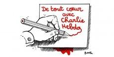 Dessin hommage de Plantu aux dessinateurs de Charlie Hebdo morts assassinés mercredi 7 janvier.